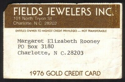 Fields Jewelers Stores PAPER Merchant 1976 Gold Credit Card