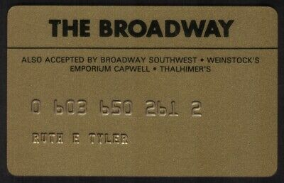 The Broadway Stores (& Emporium Capwell, etc) Regular Size Merchant Credit Card