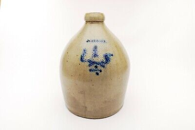 Antique Stoneware Jug, Gray With Cobalt Blue, Signed S. HART