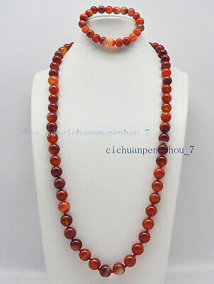 Natural 6mm Red Striped Agate Round Gems Beads Necklace 18'' Bracelet 7.5'' Set