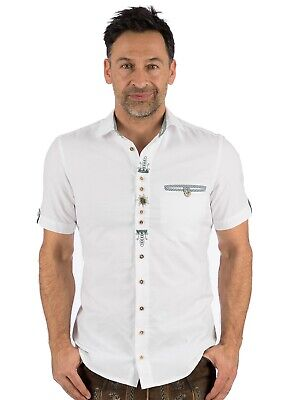 Os-trachten Traditional Costume Short-Sleeved Shirt Thorsten White