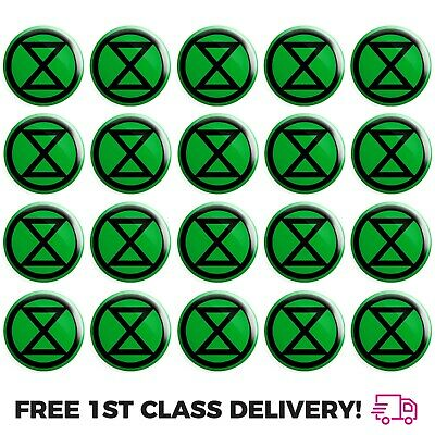 20 x Extinction Rebellion Logo BUTTON PIN BADGES 25mm 1 INCH Environment Protest