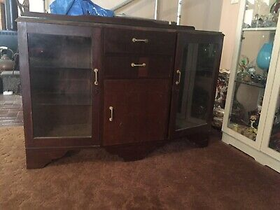 Art Deco Sideboard /All Original /Glass Top