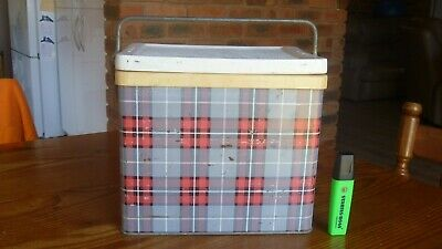 Vintage Retro Small  Willow  Tartan Ice Box - Esky - Drinks Cooler