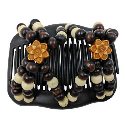Double Flower Beaded Hair Magic Combs Clip Elasticity Hair Comb for Womens