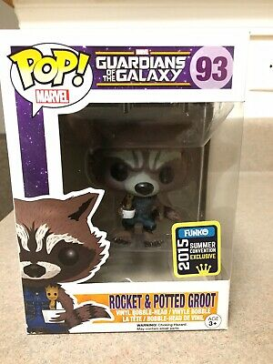 Funko POP! Marvel ROCKET RACCOON And POTTED GROOT SDCC 2015 Exclusive
