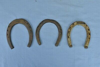 Antique LOT 3 HAND FORGED HORSESHOES HOOF FARM BARN STABLE STEAMPUNK ART #08252