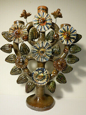 Vintage Handmade Mexican Folk Art Pottery Tree of Life Candelabra, candle holder