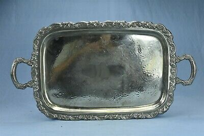 "Antique 25"" REPOUSSE SILVER PLATE BUTLER FOOTED HANDLED SERVING TRAY #08251"
