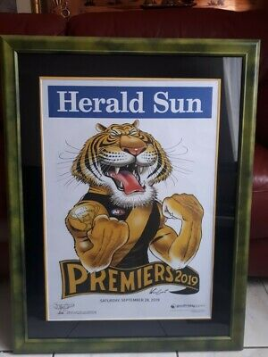 2019 AFL Richmond Premiership Weg Poster BY Mark Knight  Wood Framed