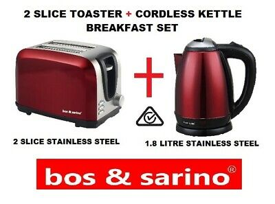 2 Slice Gloss Red Toaster & 1.8L 1500W Rose Red  Cordless Kettle Stainless Steel