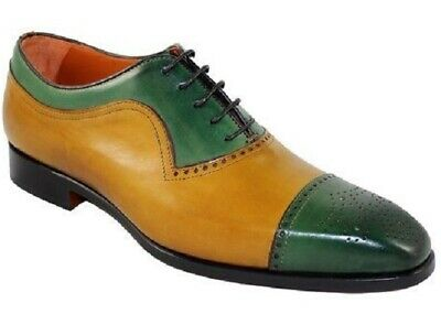 Handmade Mens Lace Up Cap Toe Shoes, Mens Green Tan Leather Brogue Shoes