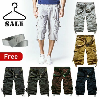 Mens Casual Cotton Summer Army Combat Camo Work Cargo Shorts Pants Trousers 3/4