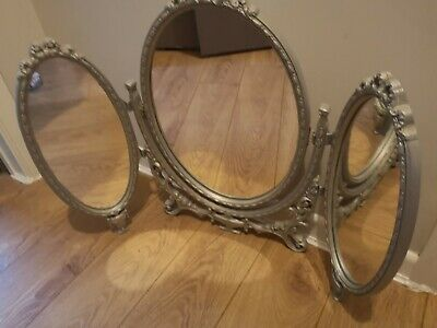 Vintage Triple Oval Louis Style Free Standing Dressing Table Mirror