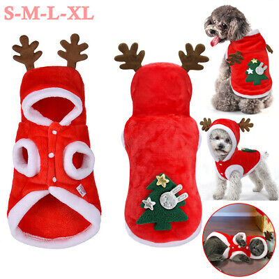 Pet Dog Cat Christmas Reindeer Clothes Puppy Warm Jumper Costume Outfit Coat UK