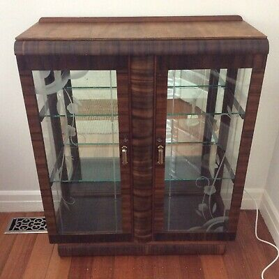 antique ART DECO crystal cabinet ETCHED GLASS DOORS Display