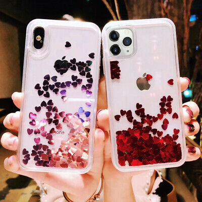 For iPhone 11 Pro Max XS 7 6s 8 Glitter Moving Quicksand Liquid Soft Case Cover