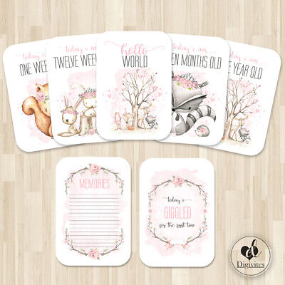 Baby Girl Milestone Cards, Floral Boho Woodland Photo props, 40 cards, 250gsm