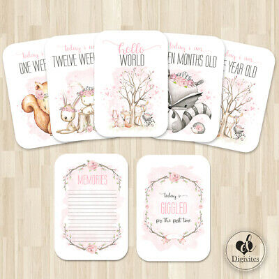 Baby Girl Milestone Cards, Floral Boho Woodland Photo props, 40 cards, 300gsm