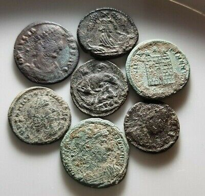 Perfect Lot Of 7 Ancient Roman Bronze Coins She Wolf