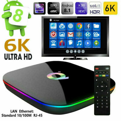 Q Plus Android 9.0 Smart TV Box 4GB+32/64G Quad Core 6K WiFi Media+Tastiera K7P2