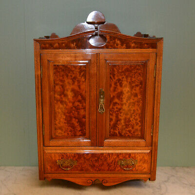Unusual Quality Victorian Amboyna & Walnut Wall Hanging Antique Cabinet