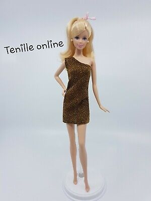 New Barbie doll clothes fashion outfit short dress shiny pretty gold