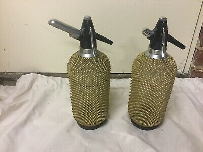 2 Soda Syphons Seltzer  Rose Gold Mesh With Bulb Holder