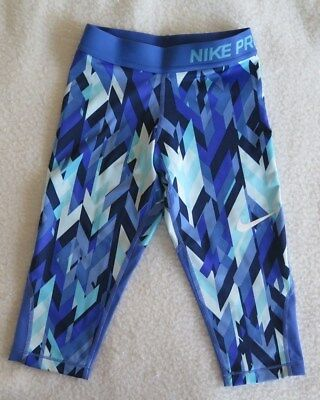 Nike Girls' Pro Cool Geoprism Printed Training Blue Capris - Size XS NWT MSRP$40