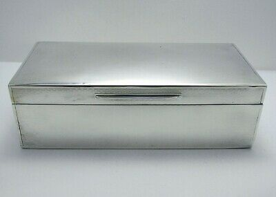 """Large 7½"""" Wide Sterling Silver Cigarette Cigar Box Trinket Jewelry Antique Case"""
