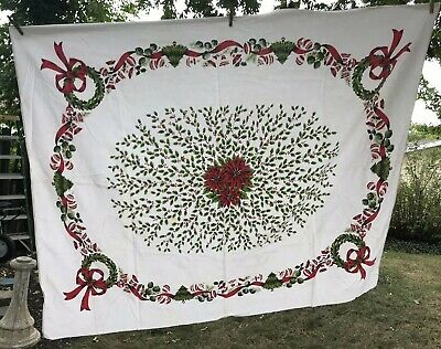 """VTG Tablecloth Christmas 1950s Cotton Red Poinsettia Holly Bells Ribbon 52""""x64"""""""