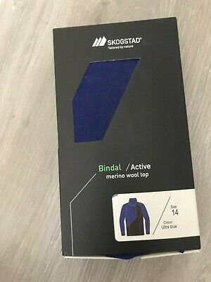 New Skogstad Wool Active Baselayer Top, Ultra Blue, Age 14, RRP £29