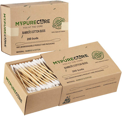 Beautiful Gentle Natural Bamboo Cotton Buds Set by MYPURECORE | 400 Eco Friendly