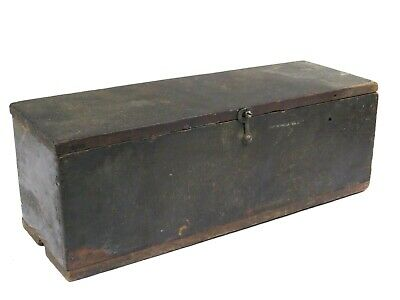 Antique Wood Tool Box Fishing Document Chest OLD