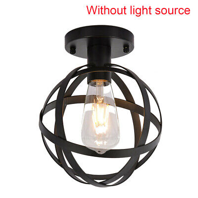 E27 Ceiling Light Lamp Holder Wrought Iron Base Home Decoration Cage Living Room