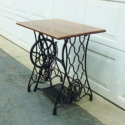 Antique Singer Treadle Sewing Machine Base - Wood Top Table