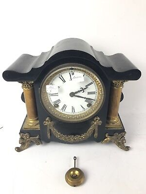 Ansonia Cast Iron Pillar Antique Ornate Clock #1558