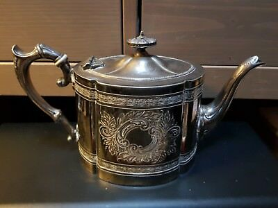 Silver Plated Teapot James Dixon & Sons Antique Victorian Chased  C1890