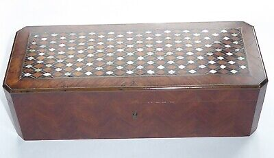 A Beautiful Parquetry Glove Box With Inlaid Mother Of Pearl With Key
