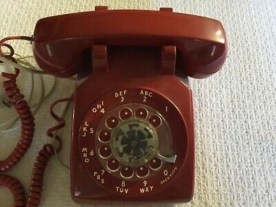VTG. Bell System Western Electric Red Rotary Dial Desk Telephone