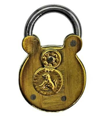 Antique Brass Miniature TRICK PADLOCK for Dog Collars with DOG MOTIF - ref.P506