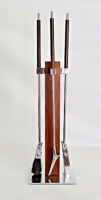 Alessandro Albrizzi Vtg Mid Century Modern Chrome Rosewood Fireplace Tools Set