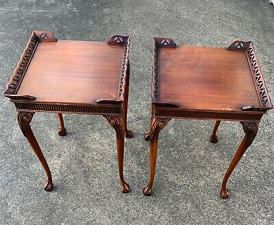 Antique Mahogany End Side Tables Ball and Claw