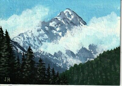"aceo original acrylic painting ""High Above the Clouds"" by J. Hutson"