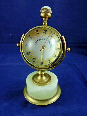 VINTAGE ONYX & BRASS CLOCK GLASS GLOBE FOR REPAIR.WEST END WATCH Co.