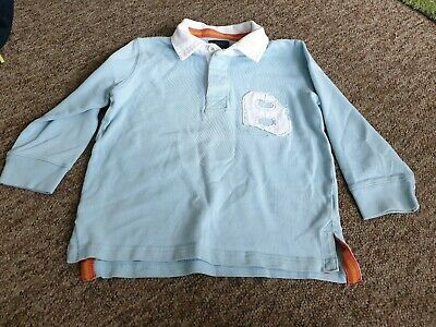 Mini Boden blue rugby shirt age 3-4 years
