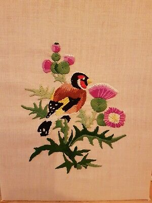 Vintage hand embroidered picture goldfinch