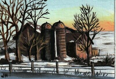 "aceo original acrylic painting ""Winter on the Old Farm"" by J. Hutson"