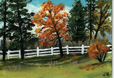 "aceo original acrylic painting""Fence in the Glen"" by J. Hutson"