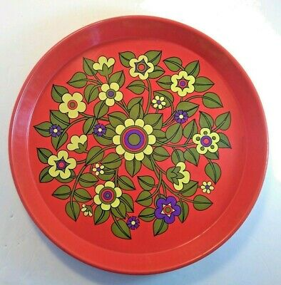 Retro Mod Floral Pattern Funky Metal Tray Vtg 60s 70s Psychedelic Pat Albeck